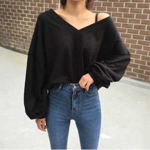 Slouchy V-Neck Sweatshirt
